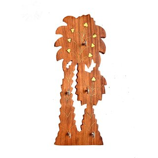 Triple S Handicrafts Wooden Tree Shaped Key Holder With 5 Hooks