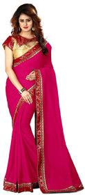 Gurukrupa Digital Pink Chiffon Wedding Saree With Blouse
