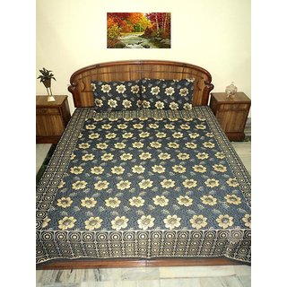 AH Double Bed Size  Multi color Silk Bed Cover ( Bed Spread )  With 2 Pillow Cover