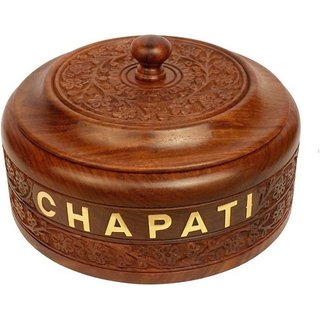 Triple S Handicrafts Wooden Chapati Printed Casserole (300 ml)