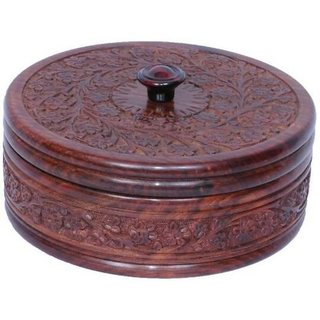 Triple S Handicrafts Wood carved Casserole (300 ml)