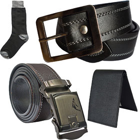Sunshopping mens black leatherite needle pin point buckle with brown leatherite auto lock buckle belts combo with black socks and black wallet (Pack of four)