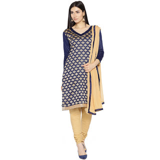 d90ecdd807 Swaron Women's Royal Blue and Beige Colored Thread Embroidery Chanderi Silk  Semi Stitched Salwar Suit