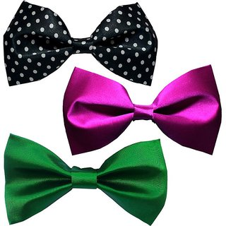 Sunshopping men's multi coloured neck bow tie (Pack of three)