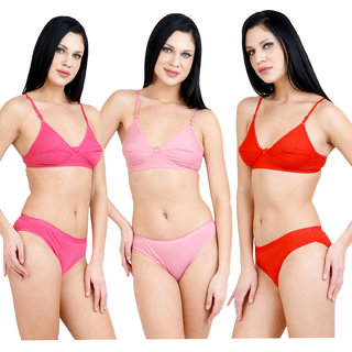 S.S Enterprises Combo Pack of 3 Multicolored Cotton Bra and Panty Set