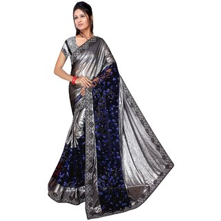 Shopcool Fashion Embroderiy Net-Silk Sarees(Butterfly-Navy Blue)