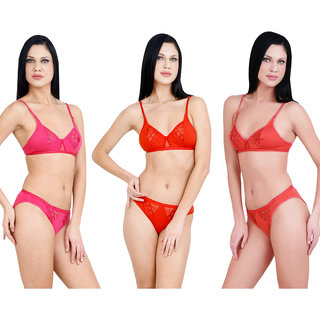 Adolescent Cotton Bra and Panty Set for Women (Combo Pack of 3)