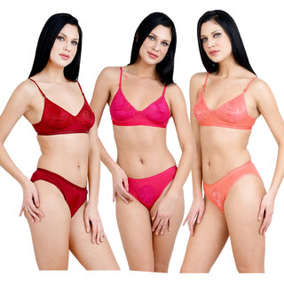bbeaa2d1f4 Buy Adolescent Cotton Bra and Panty Set for Women (Combo Pack of 3 ...
