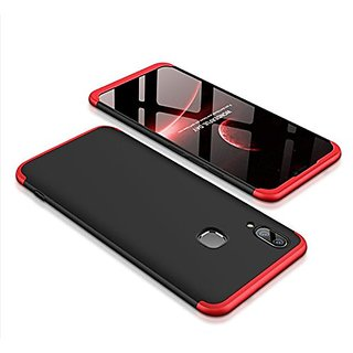 SK  3in1 Double Dip Back Cover for Vivo X21 - Black with Red