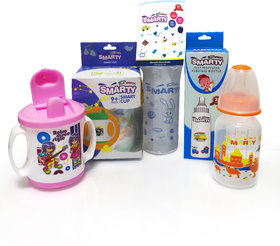 Combo Set of 3 Baby Feeding Bottle 150ml Print, 250ml Spoon Bottle and Smart Cup Sipper