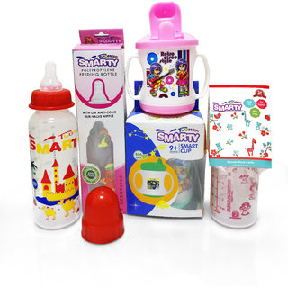 Combo Set of 3 Baby Feeding Bottle 250ml Print, 150ml Spoon Bottle and Smart Cup Sipper