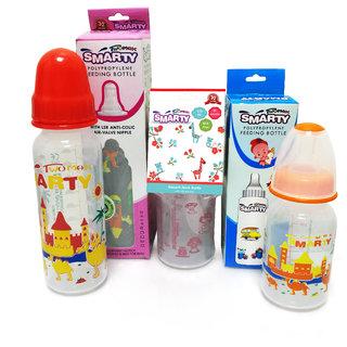 Combo Set of 3 Baby Feeding Bottle Print and Spoon Feeding Bottle