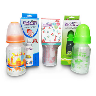 Combo Set of 3 Baby Feeding Bottle 150ml Print, Round Plain and Spoon Feeding Bottle