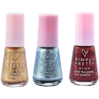 SP Nail Enamel Restage ( Glitter Gold - Sizzling Silver - Luscious Cherry )