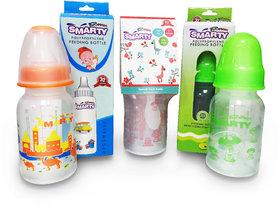 Combo Set of 3 Baby Feeding Bottle 150ml Print, Round Plainand Spoon Feeding Bottle