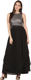 ELYWOMEN Black Layered Sleeveless Georgette Gown