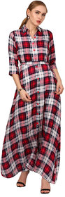 ELYWOMEN Red Collar Neck Rayon Checkered Maxi Dress