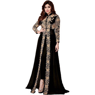 Anarkali for women's ( FASHION CARE Present embroidered work Heavy Faux Georgette Semi-Stitched Anarkali Suit for women's color Top - Black Bottom - Black Dupatta - Black Occasion - party wearoccasion wearfestival wearspecial look Sleeve - Full