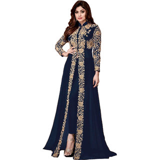 Anarkali for women's ( FASHION CARE Present embroidered work Heavy Faux Georgette Semi-Stitched Anarkali Suit for women's color Top - Blue Bottom - Blue Dupatta - Blue Occasion - party wearoccasion wearfestival wearspecial look Sleeve - Full Ne
