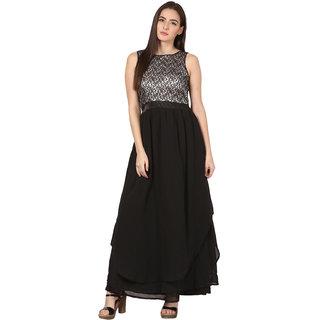 ELYWOMEN Black Layered Sleeveless Georgette Gown