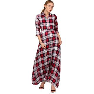 ELYWOMEN Red Collar Neck Rayon Checkered Maxi Dress