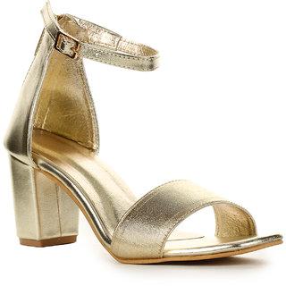 eae054925dc Buy Aadvit Women s Gold Block Heels Online - Get 33% Off