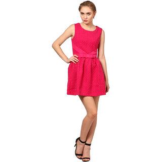 ELYWOMEN Viscose Sleeveless  Pink Baby Doll Dress