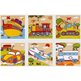 SHRIBOSSJI Colorful Wooden Block Picture Puzzle For Toddlers And Small Children (Vehicle Theme)  (9 Pieces)