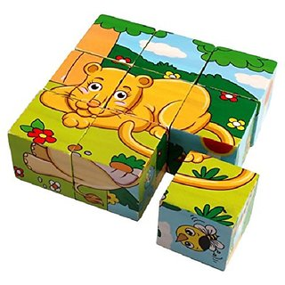 SHRIBOSSJI Colorful Wooden Block Picture Puzzle For Toddlers And Small Children (Wild Animal Theme)  (9 Pieces)