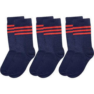 Neska Moda Boys And Girls 3 Pair Cotton Dark Blue Mid Calf Length KV Kendriya Vidyalaya School Socks For 4 To 6 Years SK458