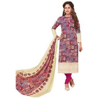 50420f28a3cb3b Hotai World Women's Multi-Coloured Ethnic Wear Unstitched Cotton Salwar  Suits Duppata Dress Material