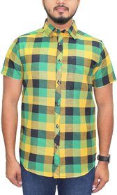 KACLHS1164 - Kuons Avenue Men's Cotton Green, Yellow  Black Checks Half Sleeve Casual Party Shirt