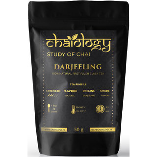 Chaiology Darjeeling Black Tea, 50g (25 Cups) 100 Natural Loose Leaf Tea