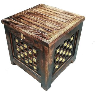 Shilpi Wooden Hand Carved  Included Brass Work Stool With storage / Wooden Pouffes