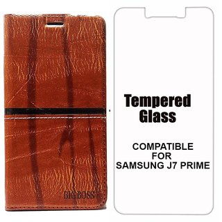 Rich Boss Fancy Diary Wallet Flip Case Cover for Samsung J7 Prime (Dark Brown) + Tempered Glass Premium Quality by MOBIMON
