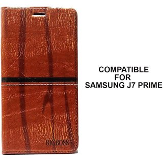 Rich Boss Fancy Diary Wallet Flip Case Cover for Samsung J7 Prime (Dark Brown) Premium Quality by MOBIMON