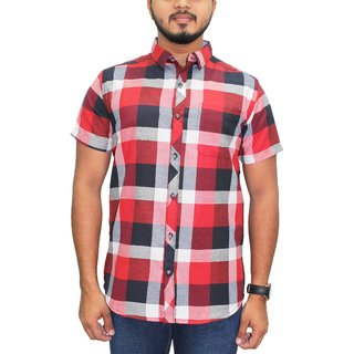 af57552ca00 Buy KACLHS1166 - Kuons Avenue Men s Cotton Maroon Black Checks Half Sleeve  Casual Party Shirt Online - Get 33% Off
