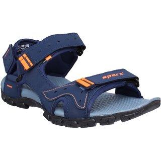 Sparx Men SS-483 Navy Blue Fluorescent Orange Sandals