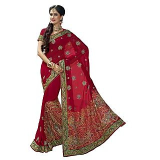 Triveni Maroon Georgette Embroidered Saree With Blouse