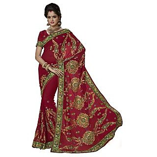 Triveni Red Faux Georgette Embroidered Saree With Blouse