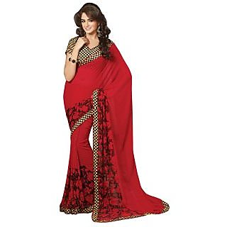 Triveni Red Georgette Printed Saree With Blouse