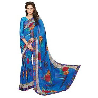 Triveni Blue Georgette Printed Saree With Blouse