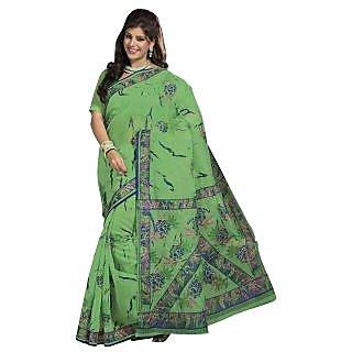 Triveni Green Cotton Printed Saree With Blouse