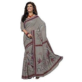 Triveni Grey Cotton Printed Saree With Blouse