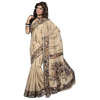 Triveni Beige Cotton Printed Saree With Blouse