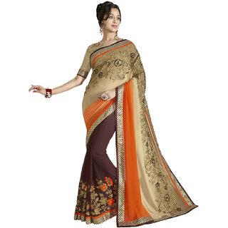 Jiya Presents Embroidered Georgette Double Side Wear Saree(Brown Beige Orange)
