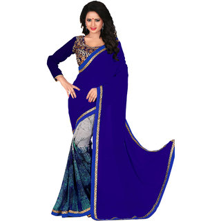 Jiya Fashion Multicolor Georgette Embroidered Saree With Blouse