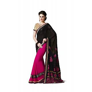 Jiya Fashion Pink Georgette Embroidered Saree With Blouse