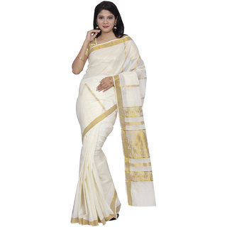 Fashionkiosks Pride Beige Colour Kerala Cotton Kasavu Jari Pallu and Jari Border Saree with Blouse 2014JariWeaved