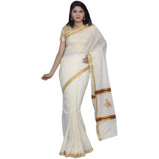 Fashionkiosks Simply Cream Colour Kerala Cotton Kasavu  Maroon Colour Flower Embroidery with Jari border Pallu Saree with Blouse 2015Emb